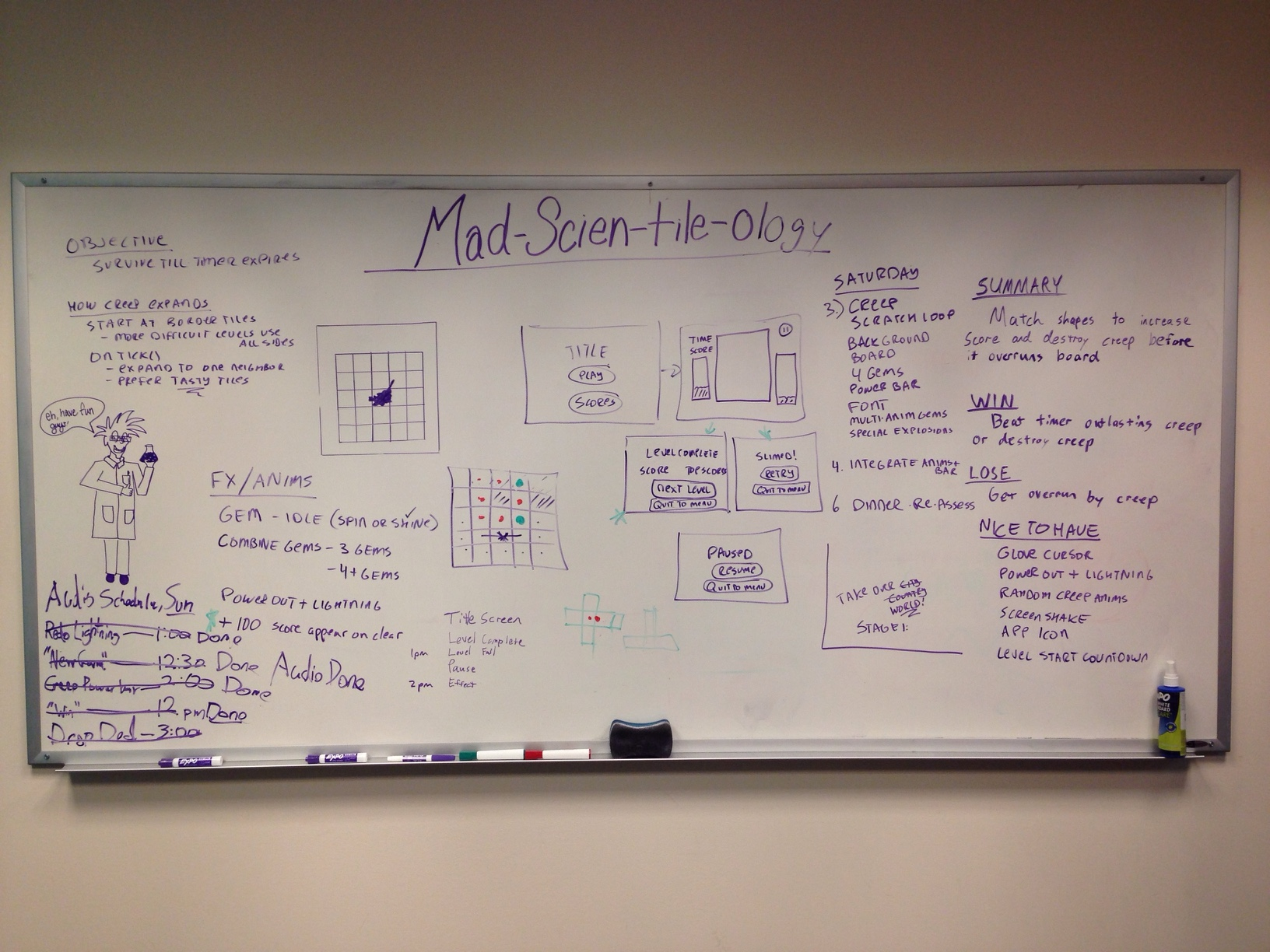 Whiteboard containing both game design and project management